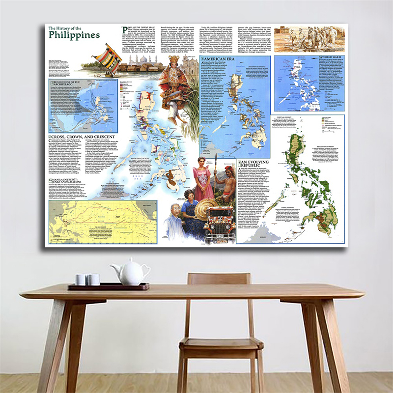 A2 59x42cm Philippines 1986 World Map Home Decoration Antique Poster Wall Chart Retro Paper Kraft Paper No Frame Map Of World