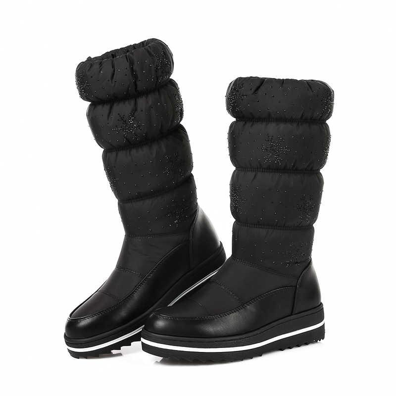 ERNESTNM Winter Schnee Stiefel Frauen Warme Plüsch Mitte Der wade Schuhe Wasserdicht Boot Pelz Plattform Stiefel Rot Elastische Hülse Plus größe 35-44