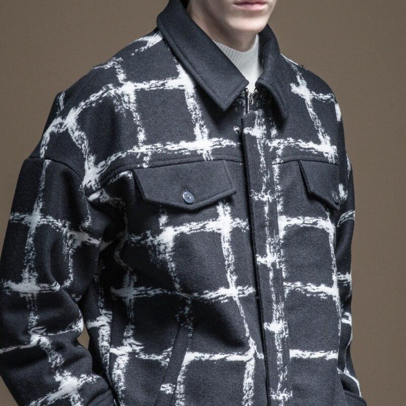 Palto completo Real hecho masculino breve párrafo 2019 otoño la nueva ropa de hombre abrigo de tela celosía ovejas de felpa solapas B193502351 - 4