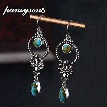 PANSYSEN minimalista Vintage azul turquesas verdes pendientes de joyería de plata 925 de aniversario, pendientes para las mujeres