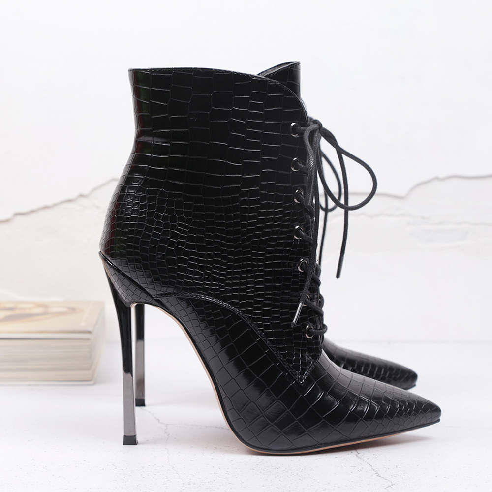 WETKISS Crocodile boots Stiletto Heel Ankle Boots Women Cross Tie Pointed Toe Ladies Booties Lace Up Emboss Thin High Heel Shoes