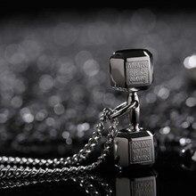 Colar lver preto com pingente, de aço inoxidável, barbell, fitness, para casal, acessórios masculinos, joias no pescoço