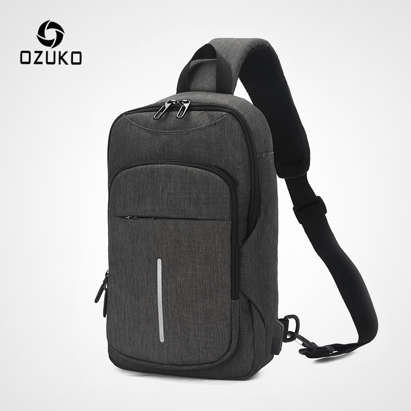 OZUKO USB Charging Chest Pack 2019 New Men's Messenger Bags Oxford Water Repellent Shoulder Bag Fashion Male 9.7