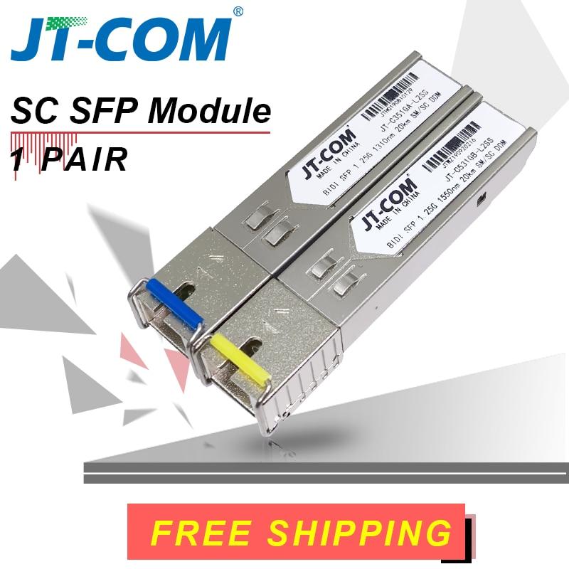 Spedizione gratuita! 2 pezzi SFP Modulo connettore SC Gigabit DDM BIDI mini gbic 1000 Mbps SC singola fibra SFP Transceiver in fibra ottica Modulo tranceiver ottico Otdr 5-120 km Compatibile con Mikrotik Cisco TP-Link
