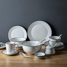 Белая Резьбовая обеденная тарелка керамическая кухонная тарелка посуда набор блюд рисовый салат лапша миска суп миска 1 шт