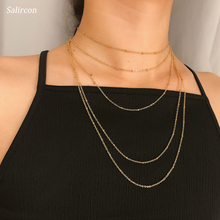 Salircon Punk Style Multi Layer Chain Necklace Alloy Combination Long Necklace Personality Copper Clad Iron Adjustable Necklace punk style alloy rhinestone necklace