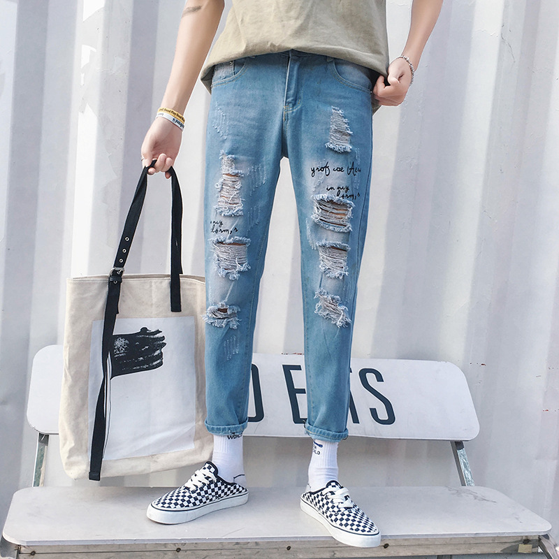 With Holes Jeans Men's Popular Brand Slim Fit Skinny Pants Korean-style Trend Men Versatile Capri Pants Summer Thin Section Pant