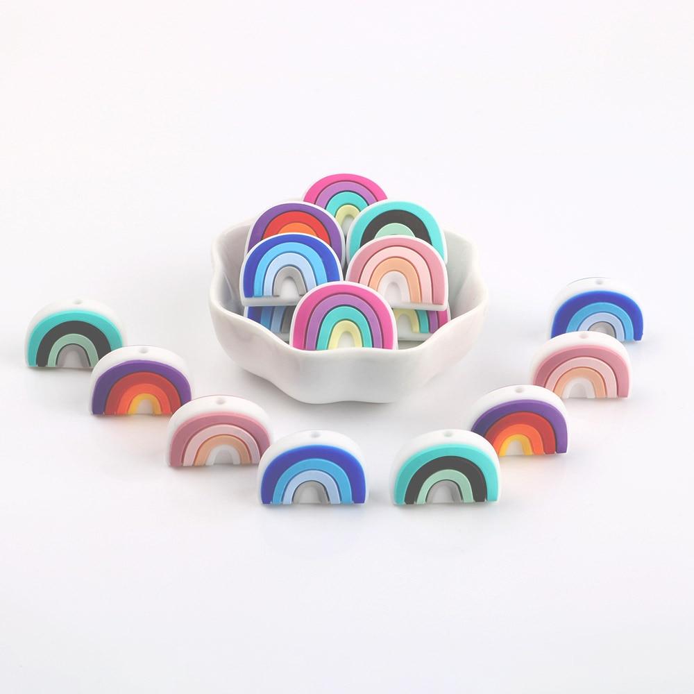 Kovict 10 шт. BPA бесплатная доставка, новый комплект одежды для детей с рисунком радуги, прорезыватели для зубов Симпатичные Силиконовые бусы дл...