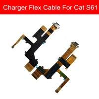 USB 충전 잭 포트 커넥터 보드 고양이 S61 Usb 충전기 보드 플렉스 리본 케이블 교체 수리 부품