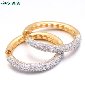 Image 4 - MHS.SUN 2019 New European Style Jewelry Gold Color Hoop Earrings With AAA Zircon For Women Wedding Party Circel Earrings Gift