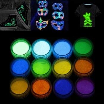 Neon Phosphor Pigment Powder Set Fluorescent Nail Glitter Eye Powder Manicure Decoration Nail Art Dust Pigment Paillettes недорого