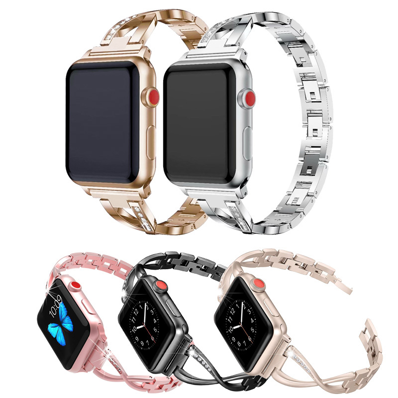Ремешок из нержавеющей стали для часов Apple 38 мм 40 мм 42 мм 44 мм ремешок с кристаллами и бриллиантами для женщин ювелирные изделия iWatch серия 5 4 3 ...