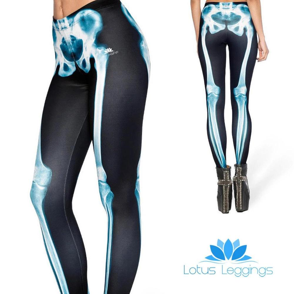 Sportswear Outdoor Skeleton Pattern Digital Printing Legging For Women Polyester Elastic Force Push Up Casual Leggings
