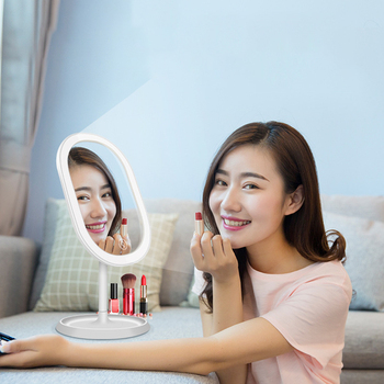 LED Lighted Makeup Mirror Night Light 3 Light Modes Touch Screen Table lamp Adjustable Dimmable USB Powered Mirror desktop touch lighting up touch screen magnifiying 3 folding adjustable beauty mirror makeup with led light mirror