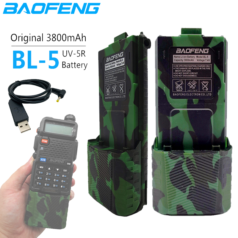 BL-5 3800mAh Baofeng UV-5R 7.4V Li-on Battery UV 5R USB Charge Cable For Walkie Talkie UV5R UV-5RE Plus BF-F8+ UV-5RA  Uv5r