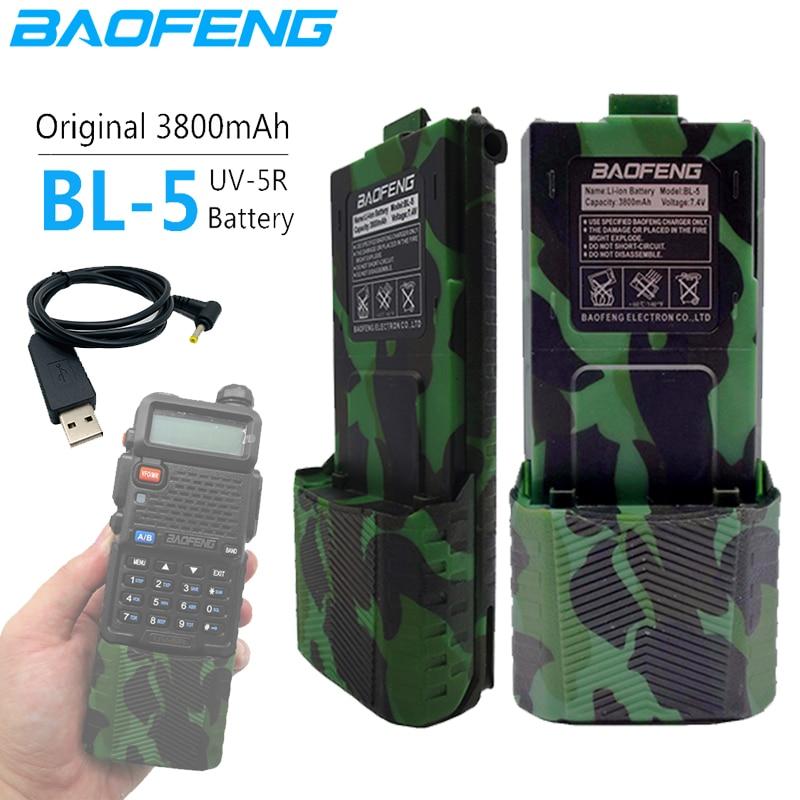 BL-5 3800mAh Baofeng UV-5R 7.4V Li-on Battery UV 5R USB Charge Cable For Walkie Talkie UV5R UV-5RE Plus BF-F8+ UV-5RA  Uv5r