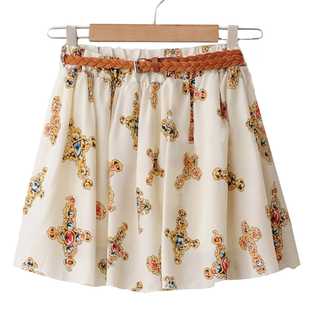 2018 New Summer Women's Mini Skirts Elastic Waist Flowers Dots Print A-line Pleated  With Lining Gilrs Casual Chiffon