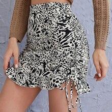 Мини юбка женская с леопардовым принтом облегающая короткая