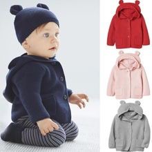Baby Coat Ear-Jacket Outerwear Cardigan Knitted Newborn Toddler Winter with Cloak