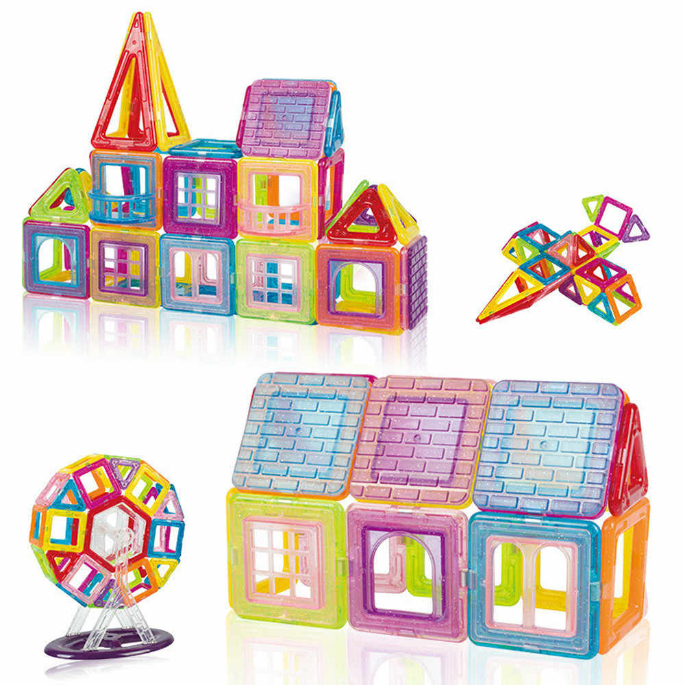 42-184pcs Mini ขนาด Magnetic Building Blocks Magnetic Designer ชุดก่อสร้างแม่เหล็กของเล่นสำหรับของขวัญเด็ก