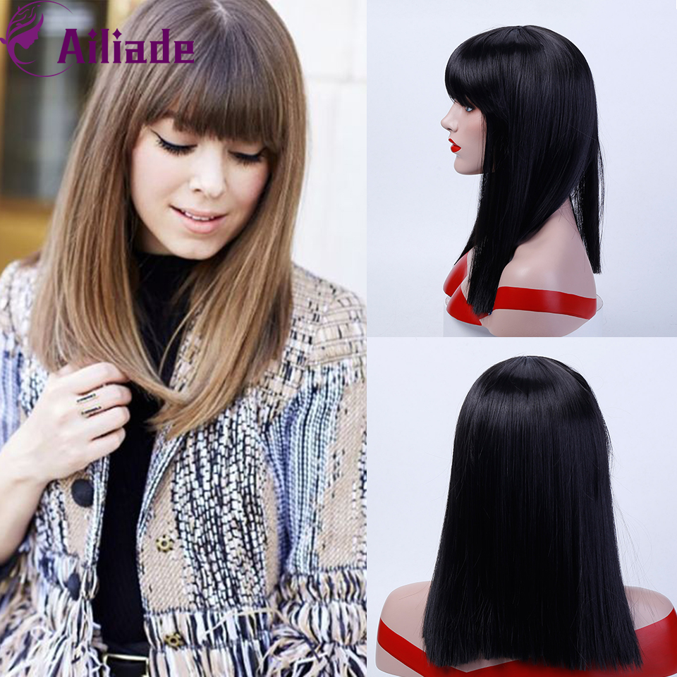 AILIADE 2020 Long Straight With Bangs Synthetic Wigs Ombre Gray Red Pink Blue Natural False Hair For Women Daily/Cosplay/Party