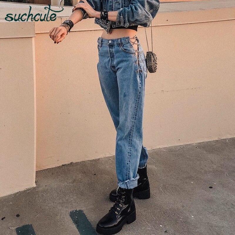 SUCHCUTE Metal Chian Women's Jeans Baggy Wide Leg Trousers Streetwear Gothic High Waist Female Dance Joggers Outfits Festival
