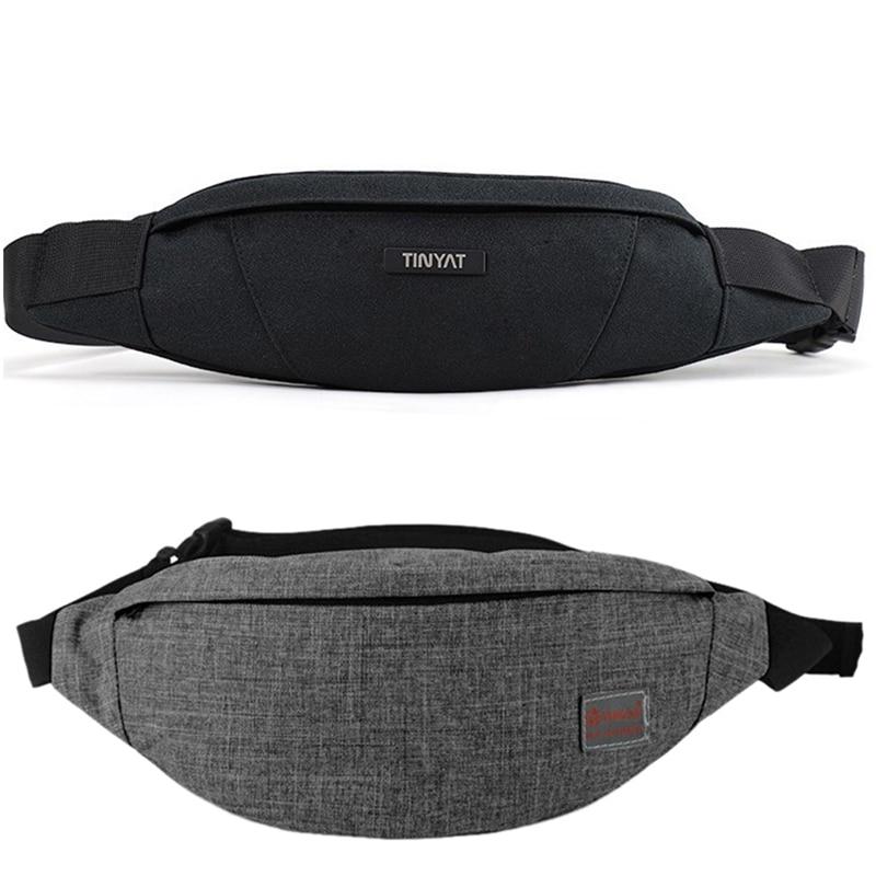 BEAU-TINYAT 2 Pcs Men Waist Bag Pack Purse Waterproof Canvas Travel Phone Belt Bag Pouch For Men Women Casual Shoulder Fanny Pac