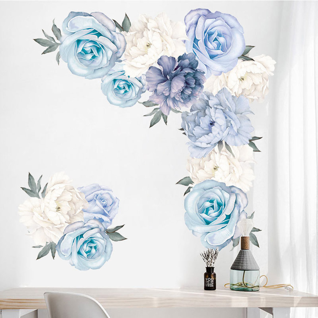 Настенные наклейки с пионами, розами, цветами, художественные наклейки для детской комнаты, Декор для дома, подарок, Бытовые аксессуары для семьи, товары для дома, Прямая поставка - Цвет: A
