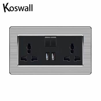 2 Gang 13A Universal Switched Socket dual USB Charge Port Output 2.1A Wall Outlet Stainless Steel Brushed Panel 1