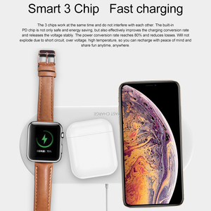 Image 4 - 3 in 1 Qi Wireless Charger Pad for iPhone 11 pro X XS Max XR for Apple Watch 4 3 2 for Airpods 10W Fast Charge For Samsung S10