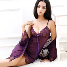 Sexy Lingerie Women's Robe Three-piece Suit Lace Bathrobe Pajamas Sheer Plus Size V-neck Women's Mini Pajamas Mesh Nightdress