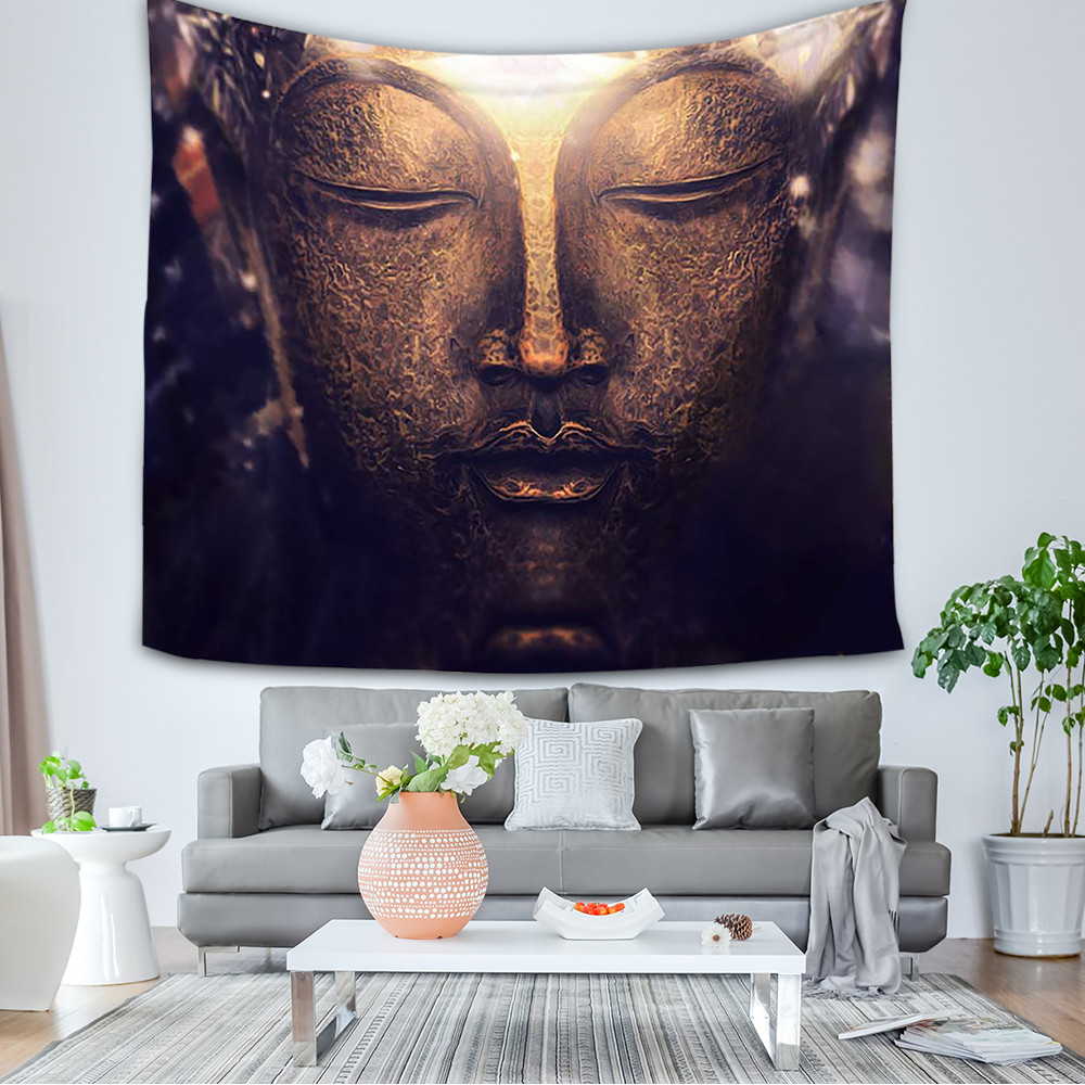 New 60*50 Inches Eye-catching Buddha Printed Tapestry Soft Polyester Wall Hanging Art Tapestry Home Living Room Bedroom Decor