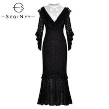 SEQINYY Lace Dress 2020 Summer Spring New Fashion Design Half Sleeve High Quality Crystal White Flowers Appliques Elegant