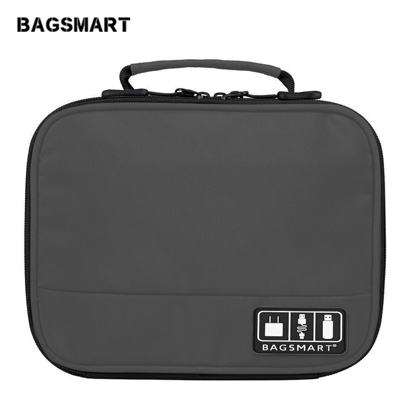 BAGSMART Electronic Accessories Organizers Bag For Earphone Data Cables USB IPad Cell Phone Charger Electronics Travel Organizer