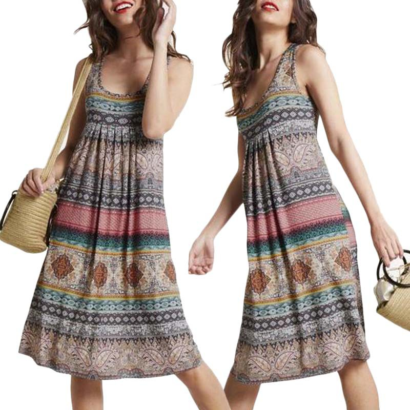 Sexy Dresses For Women Sleeveless O-Neck Print Long Dresses Female Retro 2020 Summer Casual Party Dress Plus Size Women Clothing