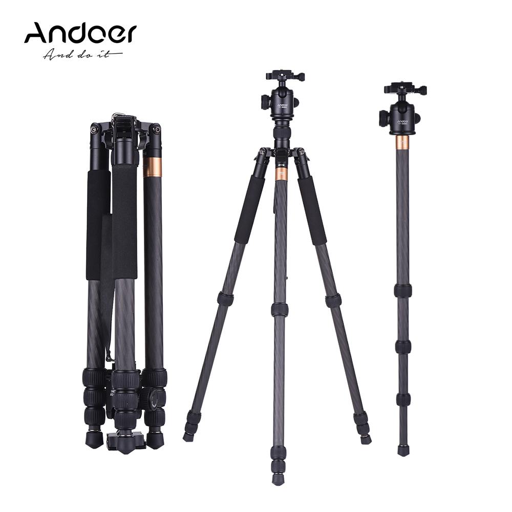 Andoer TP 999BC Professional Portable Carbon Fiber Tripod Monopod with Panoramic Ball Head 4 Section Max. Height 163cm|Tripods|Consumer Electronics - title=