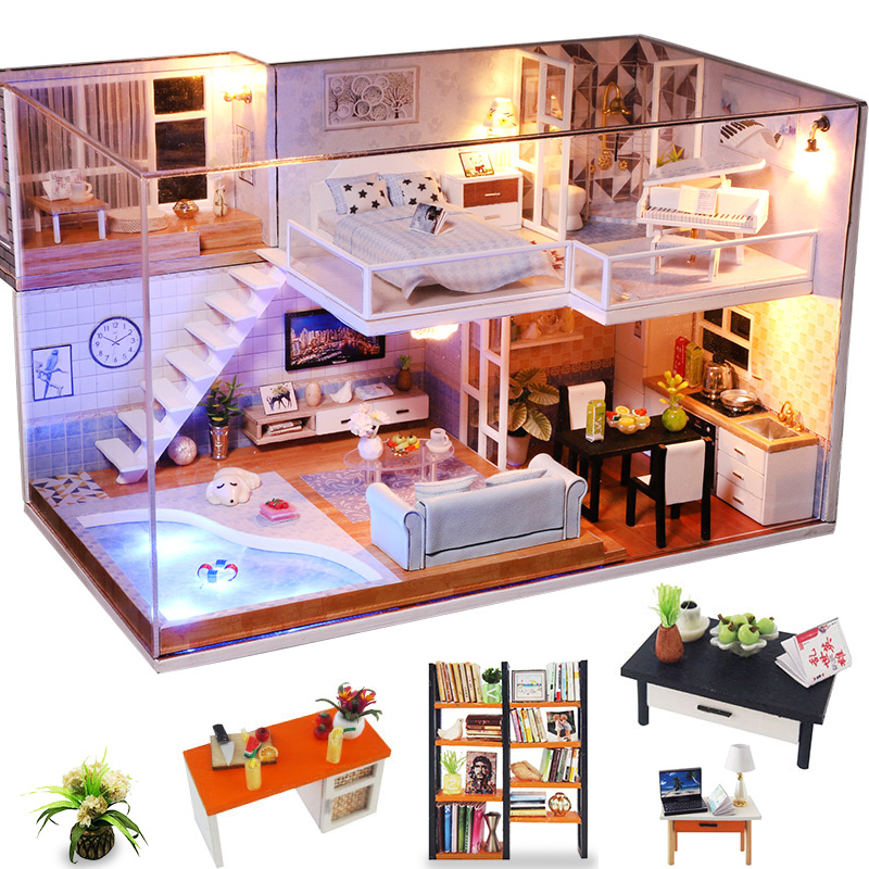 Cutebee Doll House Furniture Miniature Dollhouse DIY Miniature House Room Box Theatre Toys For Children DIY Dollhouse Njxw-B