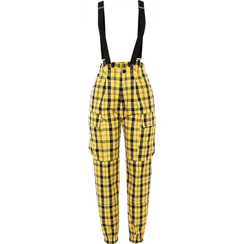 Women Adult Hip Hop Dance Yellow Plaid Pants Female Street Clothes Girls Jazz Dance Performance Trousers Rave Outfit DQL2048