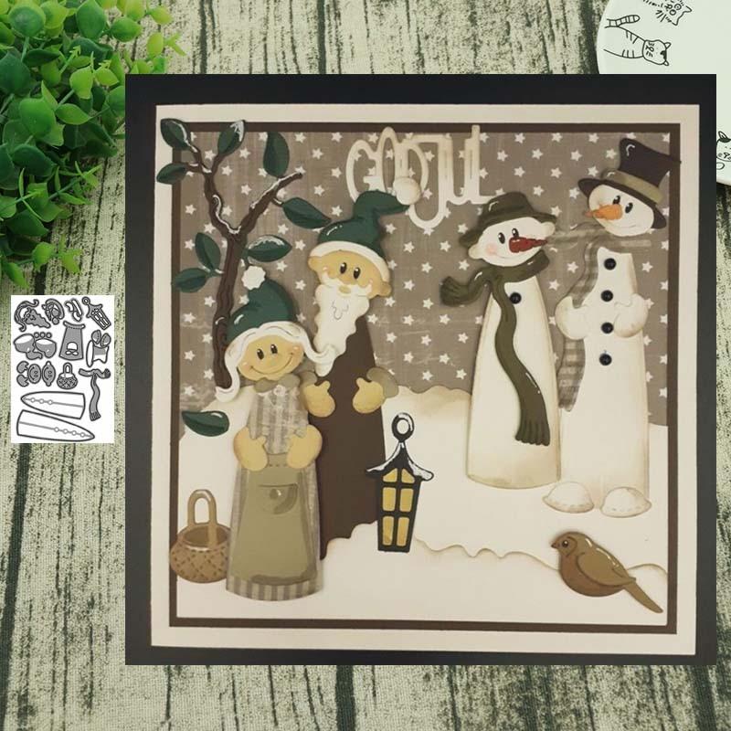 Металлический Трафаретный вырубной штамп Санта Клаус и рождественским снеговиком для Скрапбукинг Сталь ремесло высечки Тиснение Бумага, карточка, альбом трафарет|Вырубные штампы|   | АлиЭкспресс