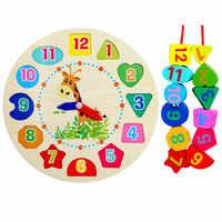 Livre shippin blocos de relógio de brinquedo de madeira do bebê, relógio de coelho de madeira dos desenhos animados para crianças/presente