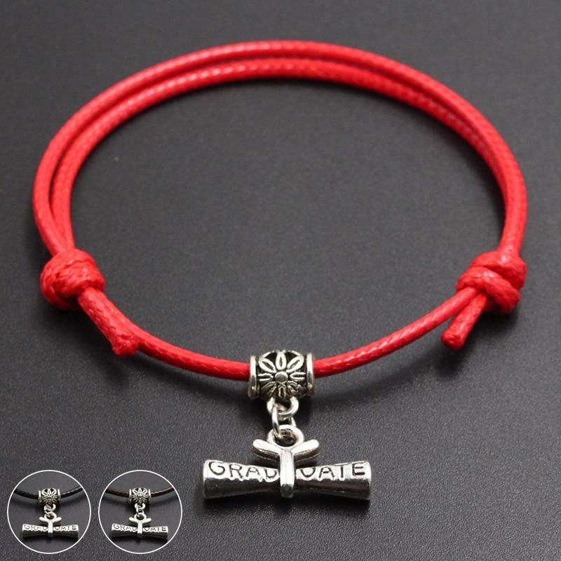 New Graduate Pendant Red Thread String Bracelet Lucky Handmade Rope Charm Bracelet for Women Men Lover Couple Jewelry