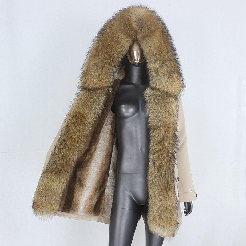H29ce3c47114f457883c5e06c8ade10feI CXFS 2021 New Long Waterproof Parka Winter Jacket Women Real Fur Coat Natural Raccoon Fur Hood Thick Warm Streetwear Removable