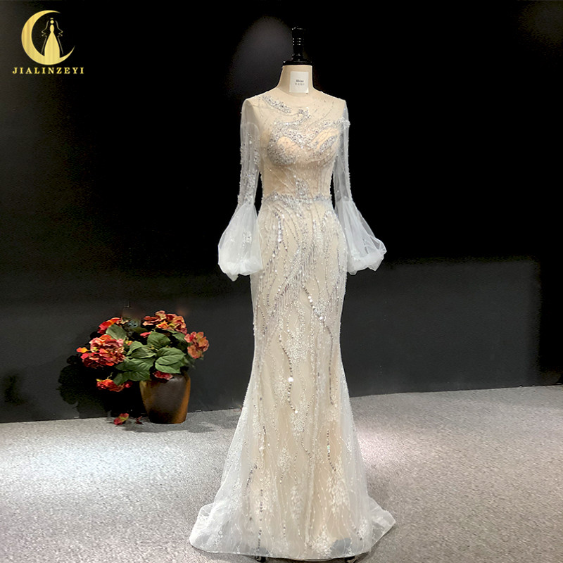 Rhine real Pictures long sleeves light grey with lace beads crystal mermaid sexy evening dress long formal dressesEvening Dresses   -