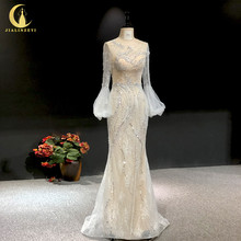 Rhine real Pictures long sleeves light grey with lace beads crystal mermaid sexy evening dress long formal dresses