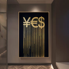 Golden RMB Euro And Dollar Abstract Canvas Painting Posters And Prints Money Symbol Picture On Wall Art Living Room Decoration