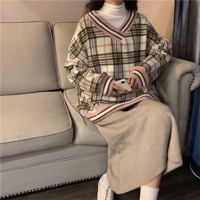 Women plaid hoodies pring winter new style slim fit casual hooded  sweatshirt pink and blue fashion Plaid Pirnted Cotton Hooded 3