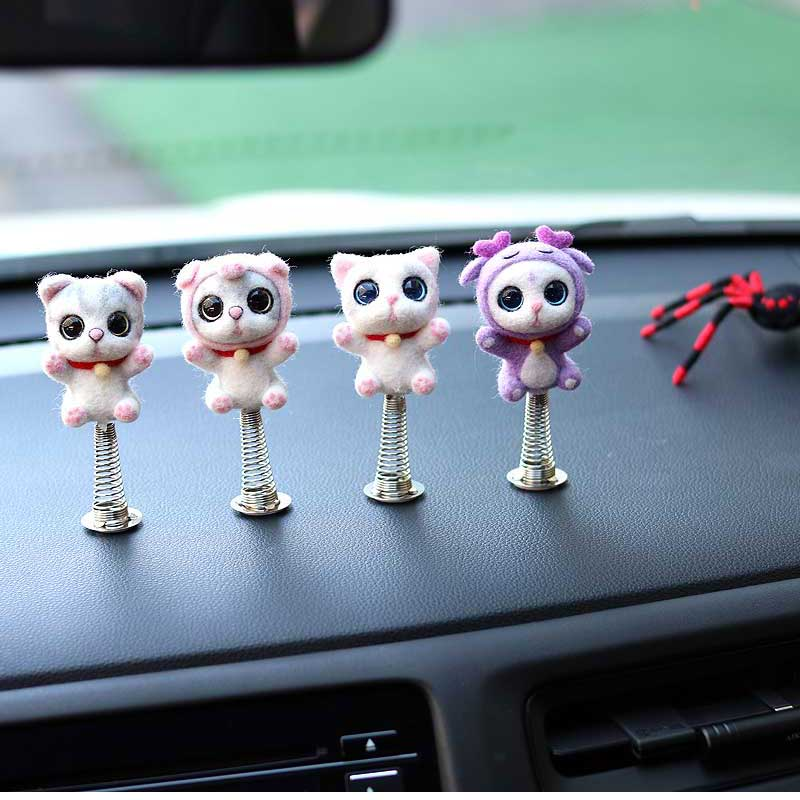 Shaking Head Toys Car Ornaments Wool Needle Nod Dolls Cute Cartoon Funny Cat Animal Lovely Car Dashboard Material No Finished