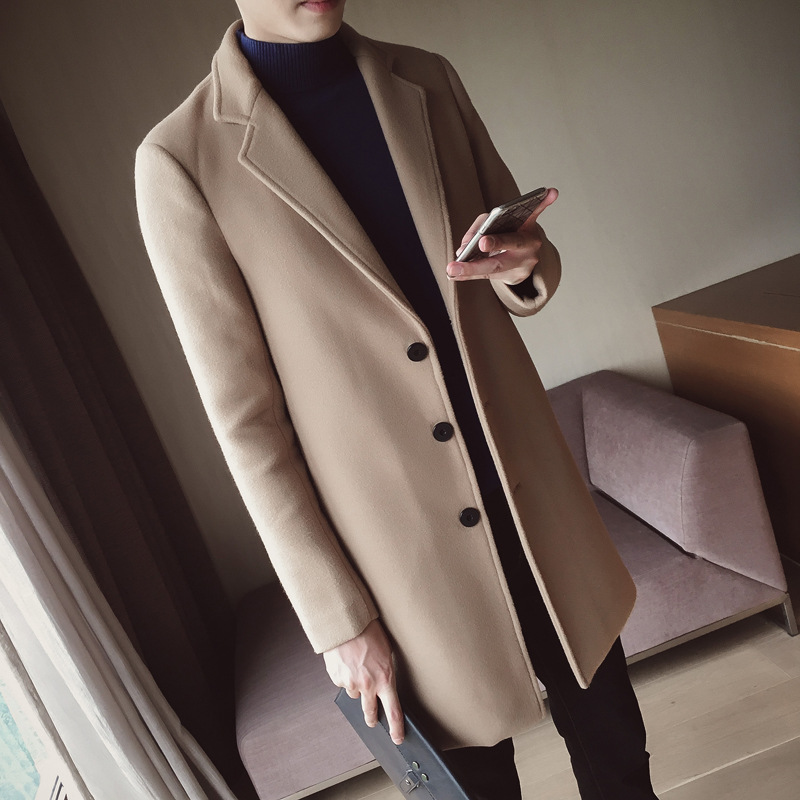 Осенне зимнее шерстяное пальто, Мужская модная куртка средней длины, мужское пальто с отложным воротником, однотонное приталенное Мужское