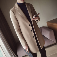 Autumn Winter Wool Coat Men Fashion Mid long Jacket Men Turn Down Collar Overcoat Solid Color Slim Fit Male Trench Coat M 5XL