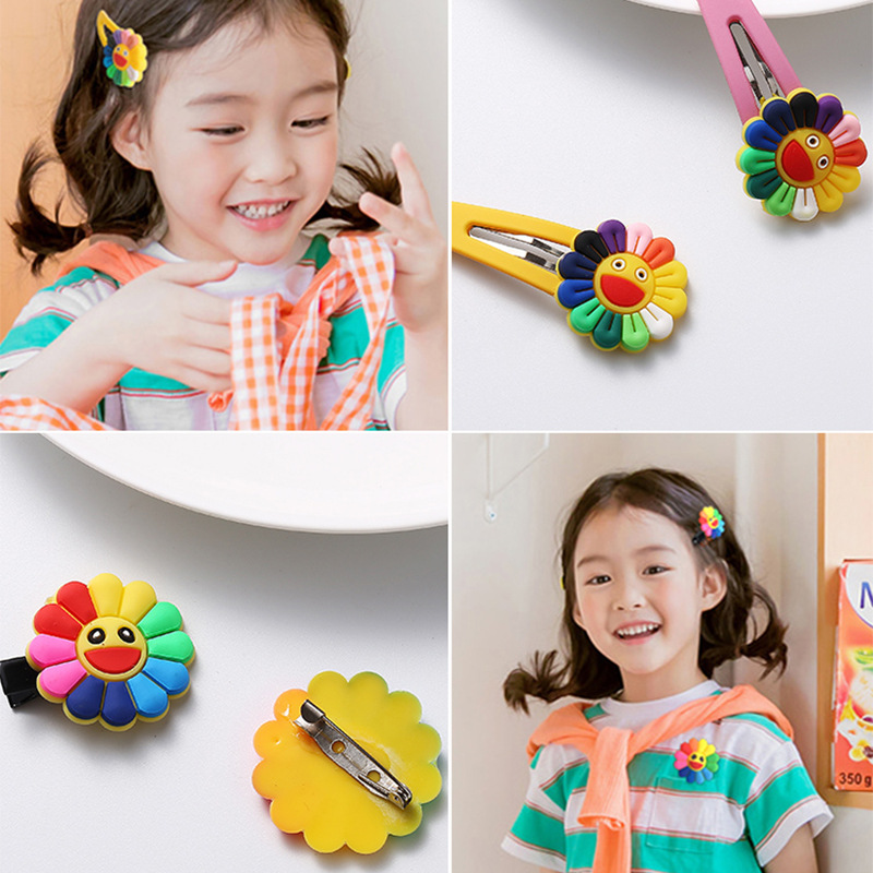 New2020 boho rainbow flower minnie metal baby girls elastic hair accessories clips hairpins scrunchie and brooche are more cuter